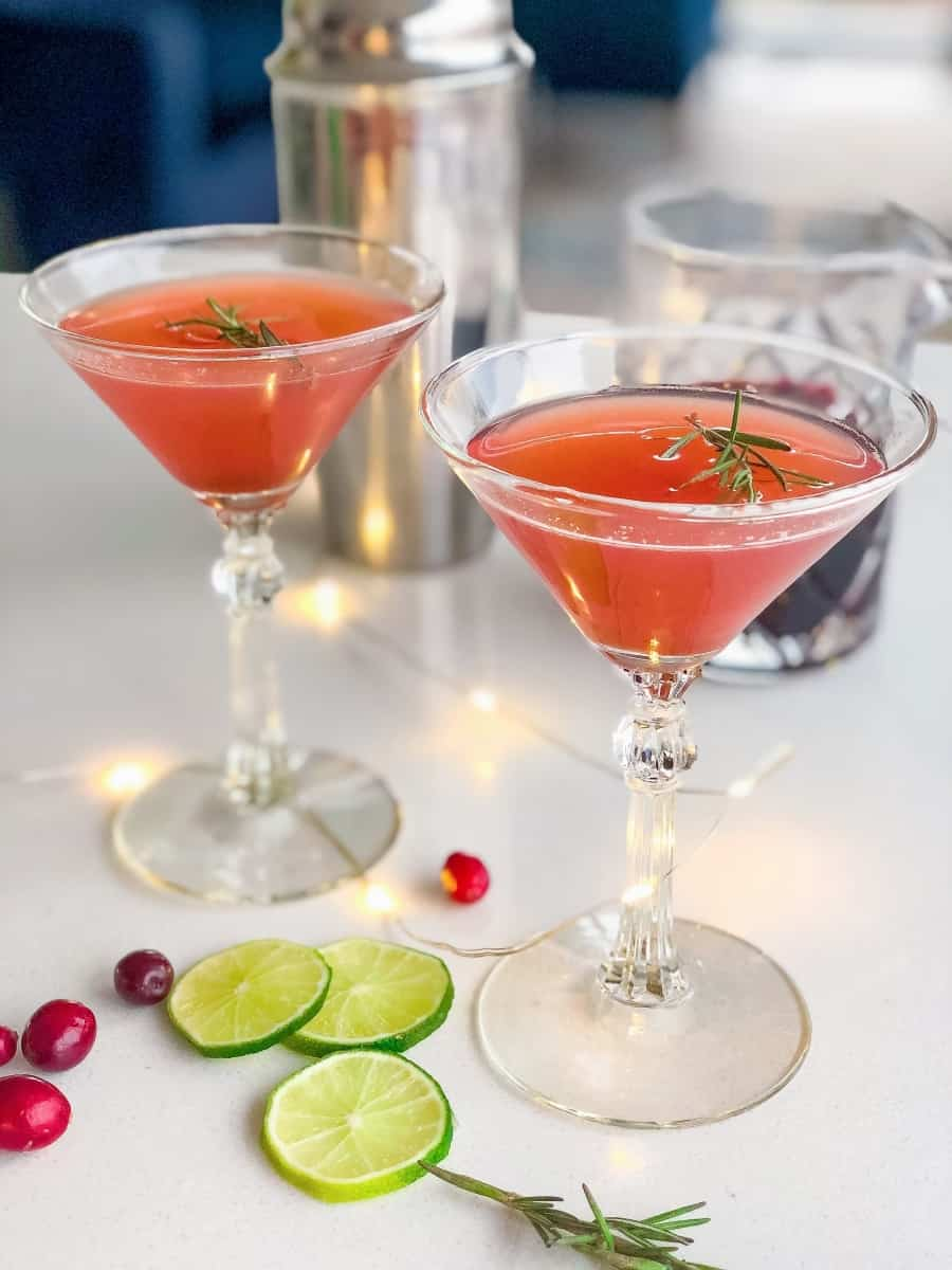 Pomegranite Cocktails in two martini glasses